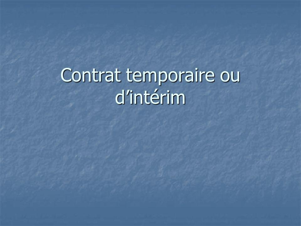 Contrat temporaire ou d'intérim