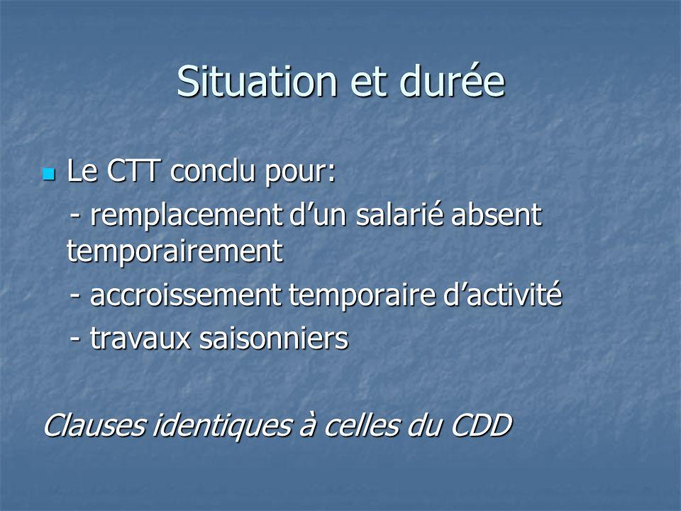 Situation et durée Le CTT conclu pour: