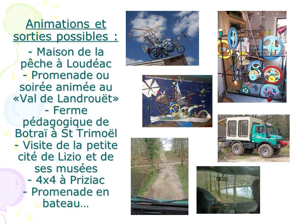 Animations et sorties possibles : - Maison de la pêche à Loudéac - Promenade ou soirée animée au «Val de Landrouët» - Ferme pédagogique de Botraï à St Trimoël - Visite de la petite cité de Lizio et de ses musées - 4x4 à Priziac - Promenade en bateau…