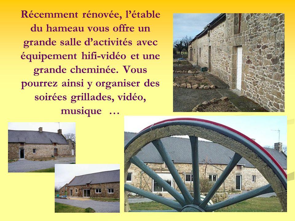 Récemment rénovée, l'étable du hameau vous offre un grande salle d'activités avec équipement hifi-vidéo et une grande cheminée.