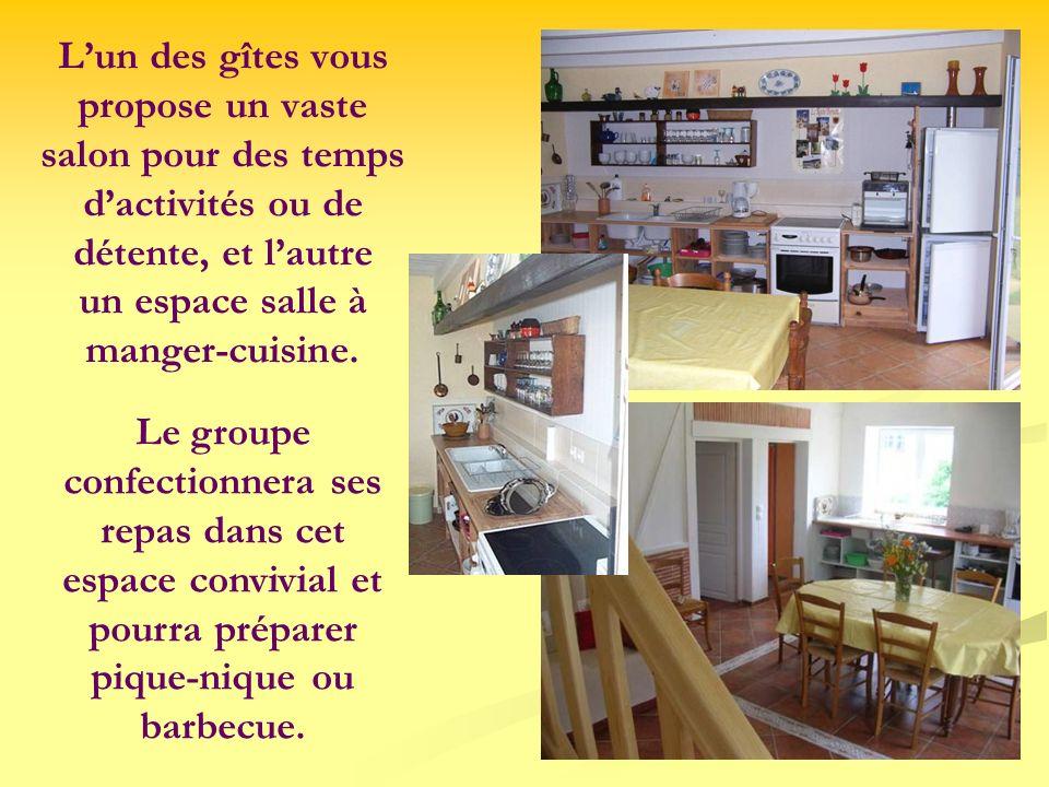 L'un des gîtes vous propose un vaste salon pour des temps d'activités ou de détente, et l'autre un espace salle à manger-cuisine.