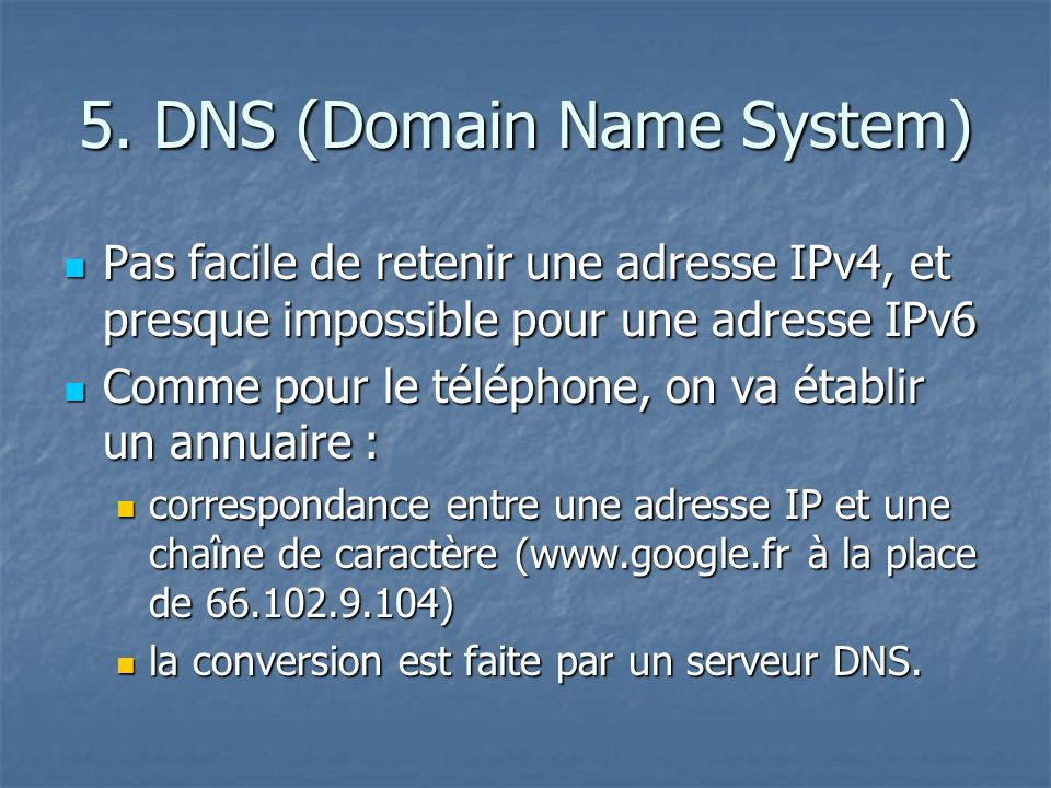 5. DNS (Domain Name System)