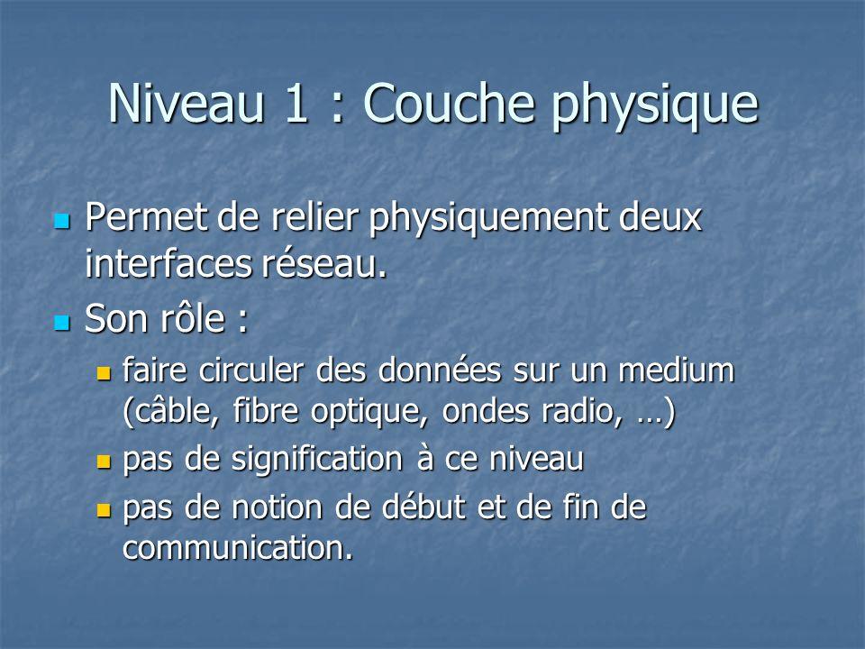 Niveau 1 : Couche physique