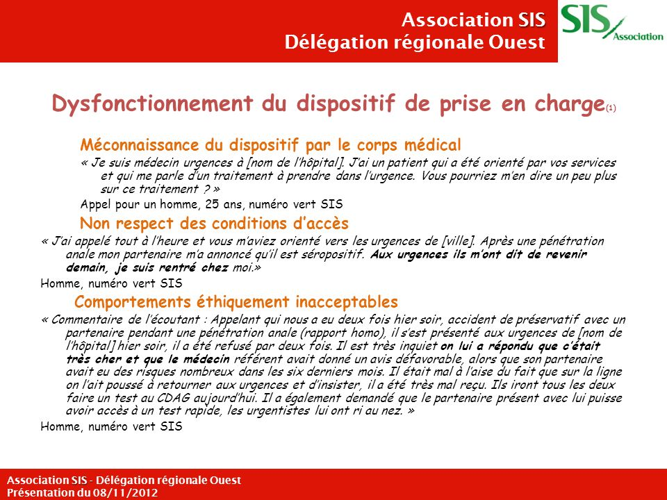 Dysfonctionnement du dispositif de prise en charge(1)