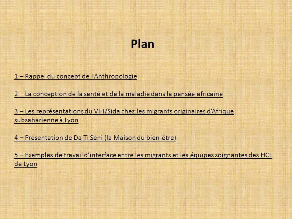 Plan 1 – Rappel du concept de l'Anthropologie