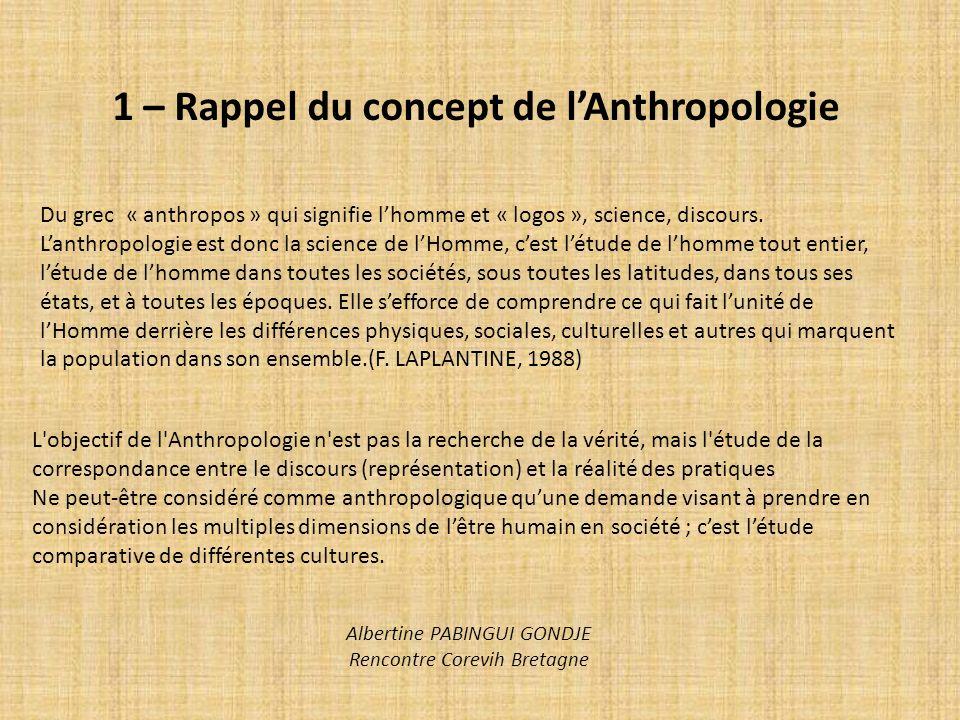 1 – Rappel du concept de l'Anthropologie