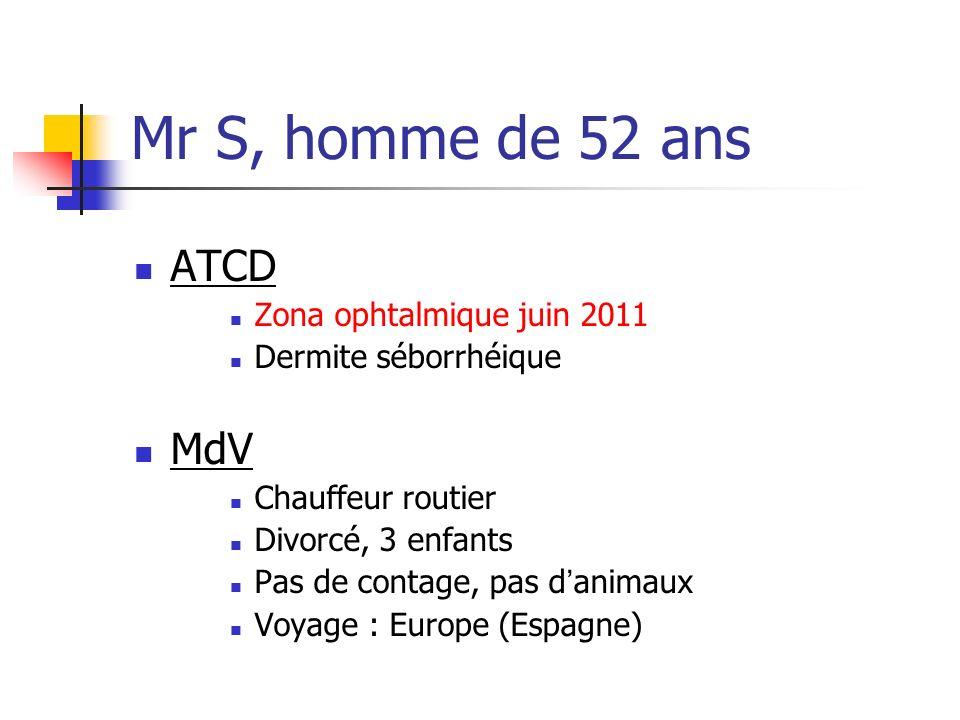 Mr S, homme de 52 ans ATCD MdV Zona ophtalmique juin 2011