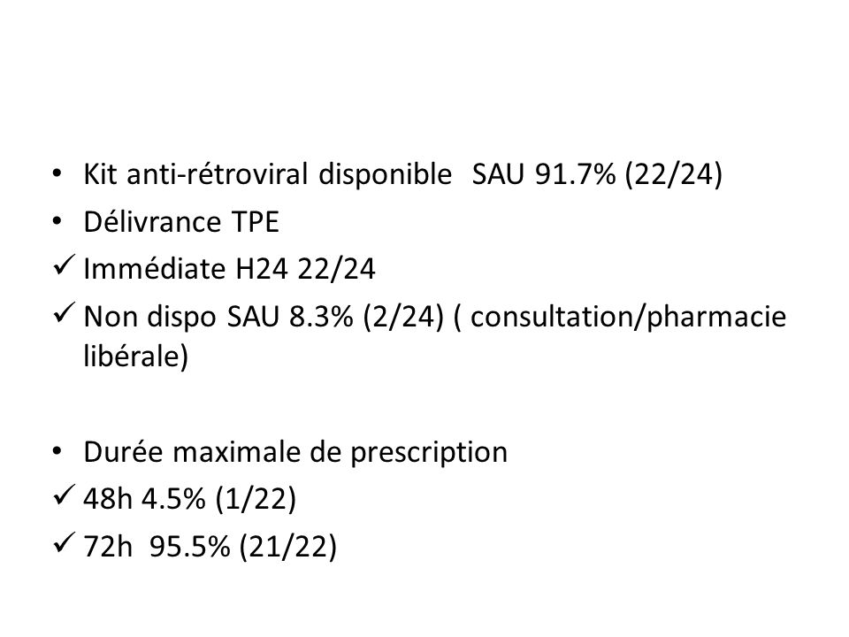 Kit anti-rétroviral disponible SAU 91.7% (22/24)