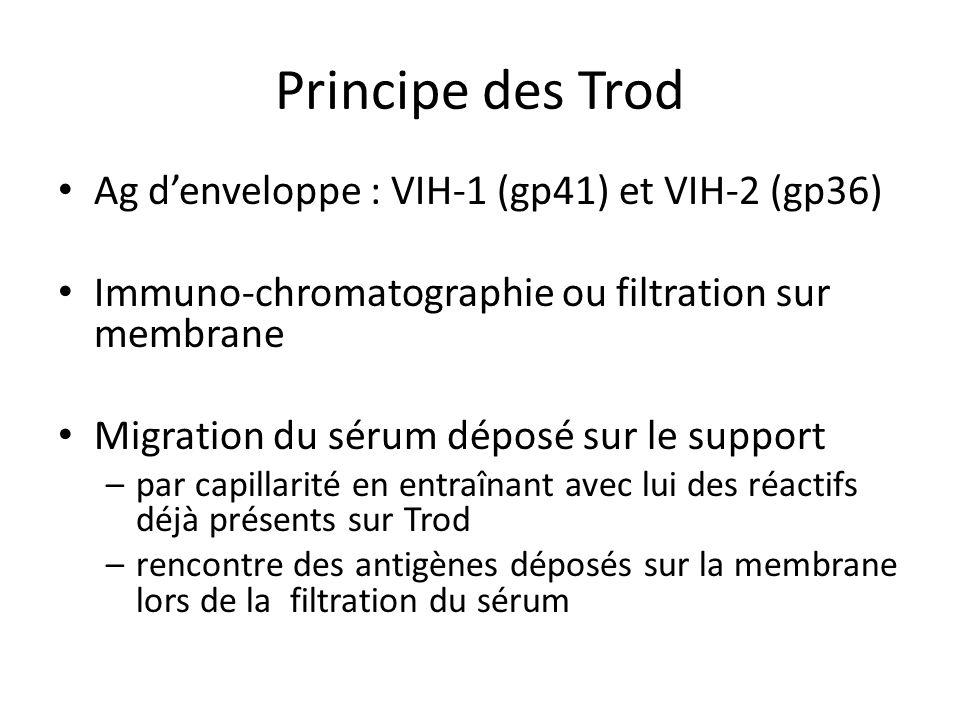 Principe des Trod Ag d'enveloppe : VIH-1 (gp41) et VIH-2 (gp36)