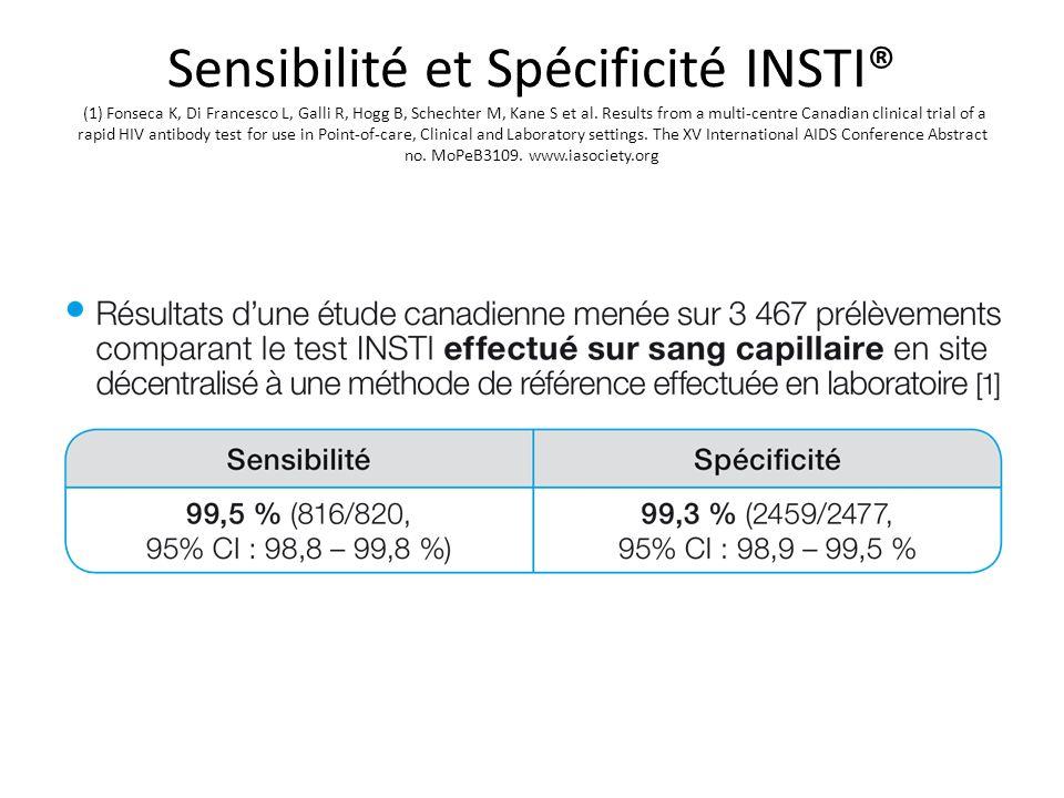 Sensibilité et Spécificité INSTI® (1) Fonseca K, Di Francesco L, Galli R, Hogg B, Schechter M, Kane S et al.