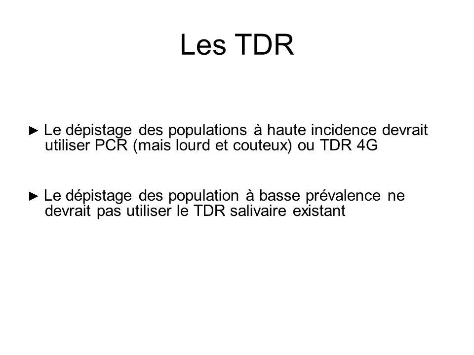 Les TDR► Le dépistage des populations à haute incidence devrait utiliser PCR (mais lourd et couteux) ou TDR 4G.