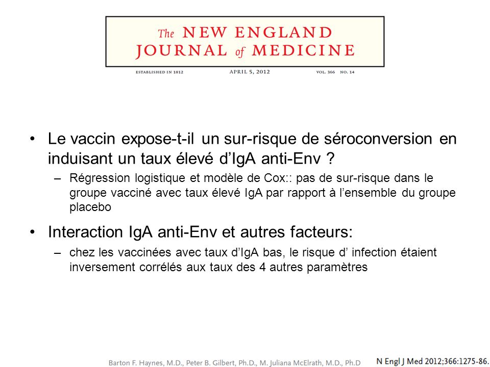 Interaction IgA anti-Env et autres facteurs: