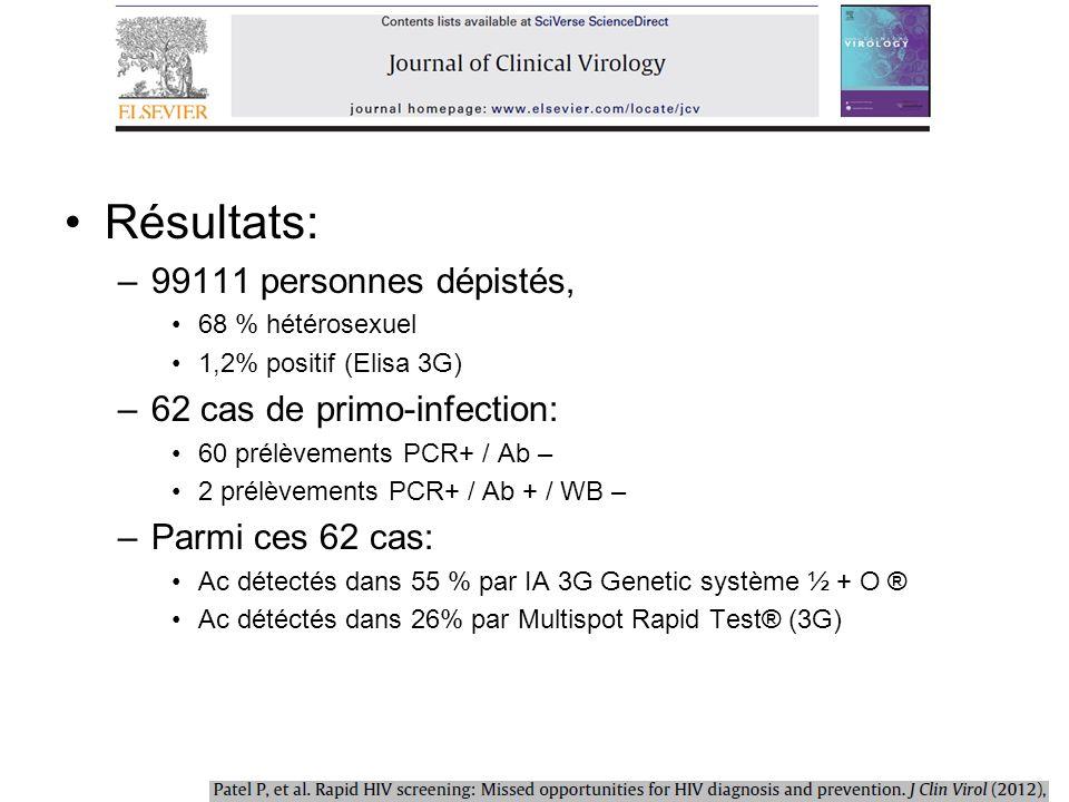 Résultats: 99111 personnes dépistés, 62 cas de primo-infection: