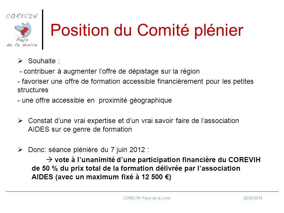 Position du Comité plénier