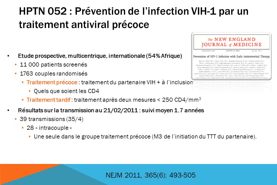 HPTN 052 : Prévention de l'infection VIH-1 par un traitement antiviral précoce