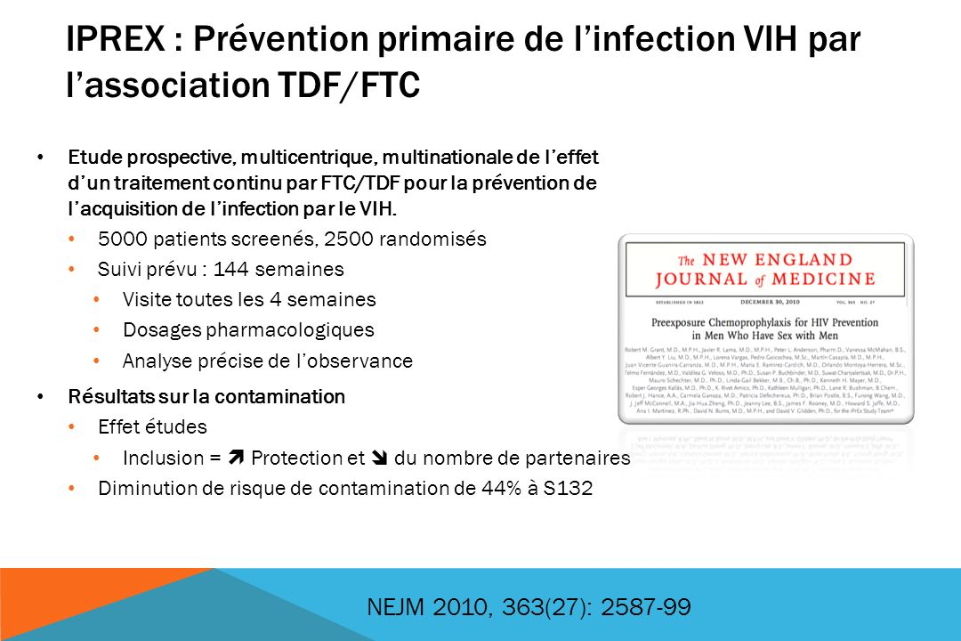 IPREX : Prévention primaire de l'infection VIH par l'association TDF/FTC