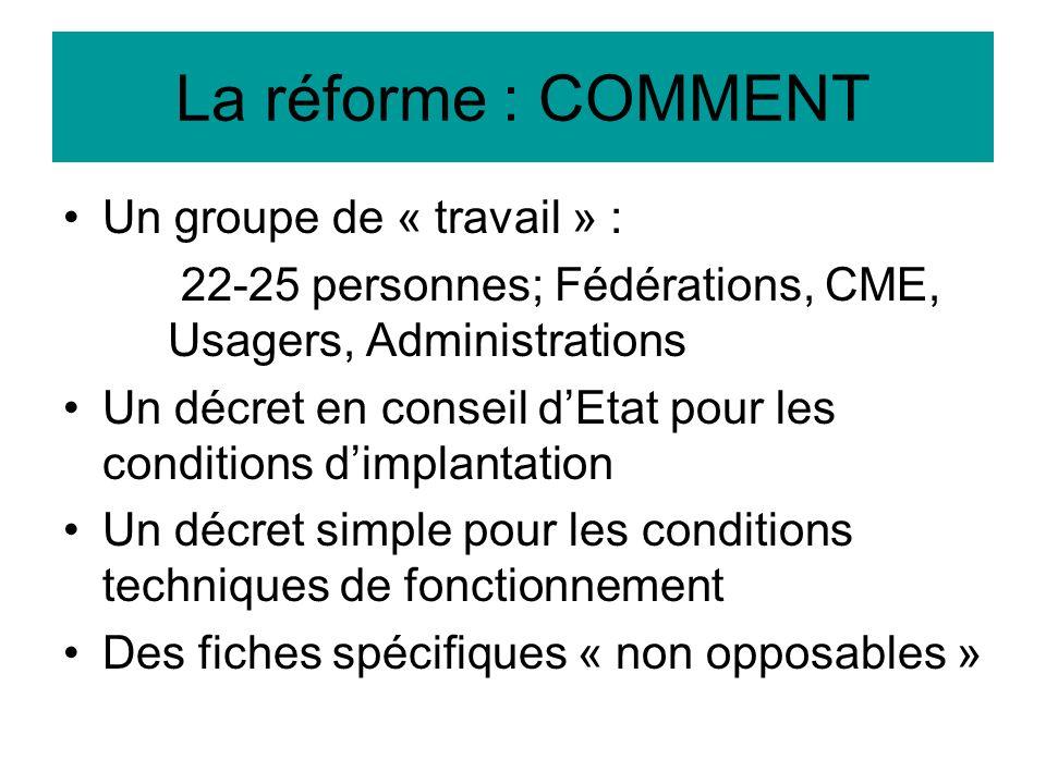 La réforme : COMMENT Un groupe de « travail » :