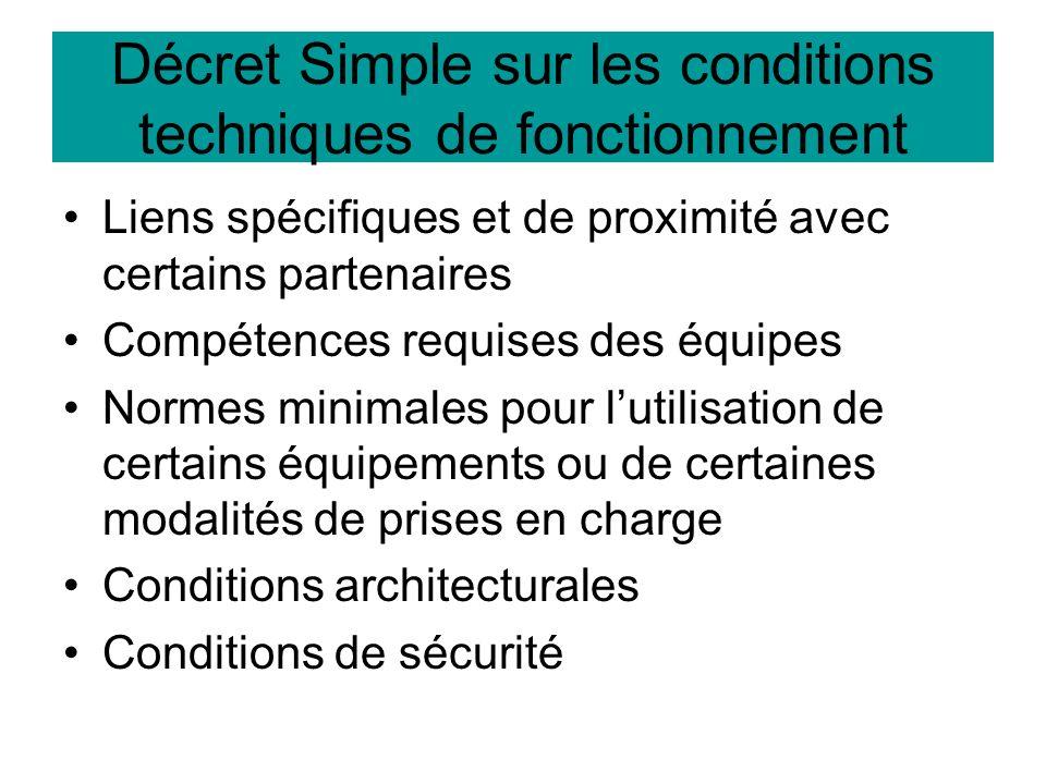 Décret Simple sur les conditions techniques de fonctionnement