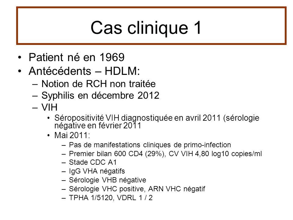 Cas clinique 1 Patient né en 1969 Antécédents – HDLM: