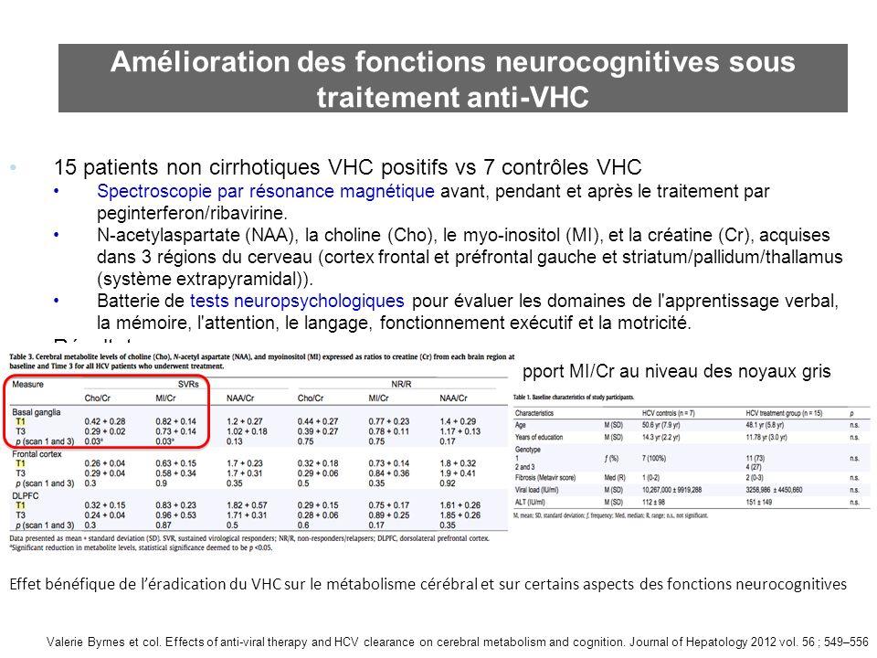 Amélioration des fonctions neurocognitives sous traitement anti-VHC