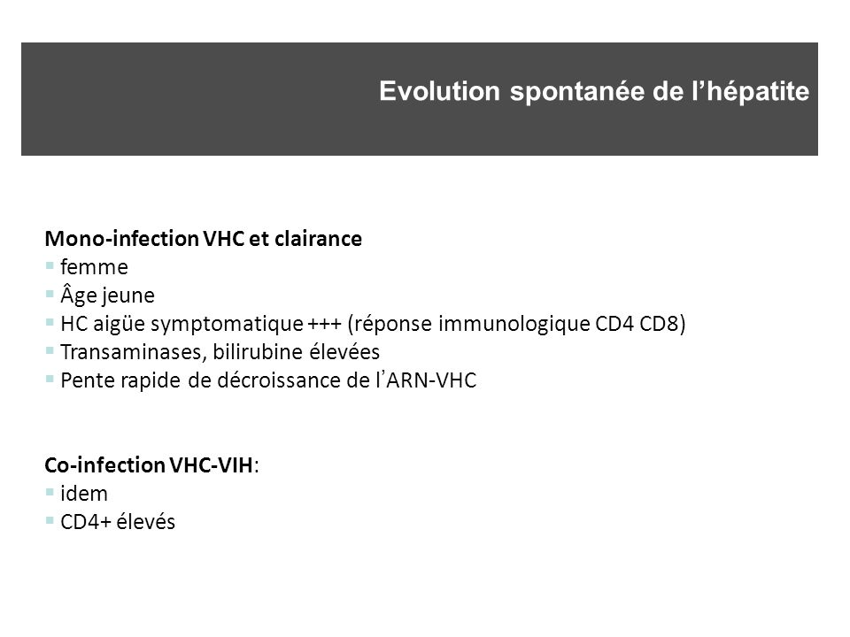 Evolution spontanée de l'hépatite