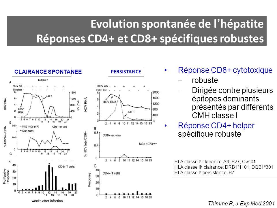 Evolution spontanée de l'hépatite Réponses CD4+ et CD8+ spécifiques robustes