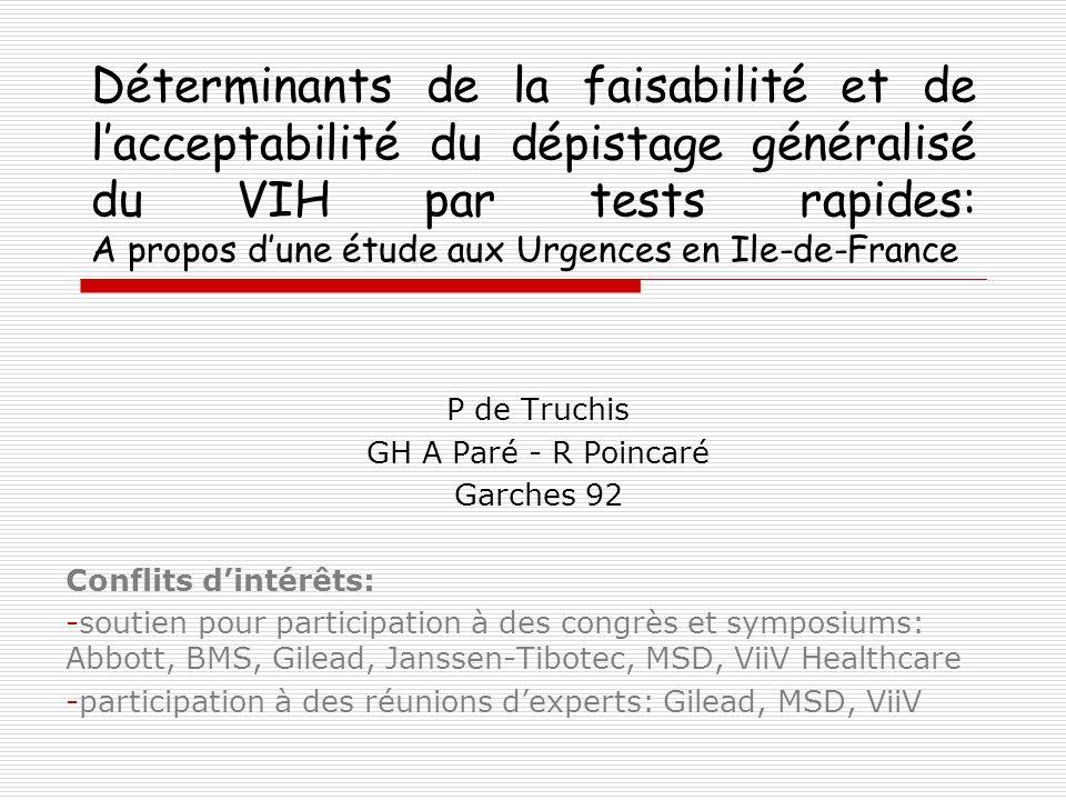 Déterminants de la faisabilité et de l'acceptabilité du dépistage généralisé du VIH par tests rapides: A propos d'une étude aux Urgences en Ile-de-France