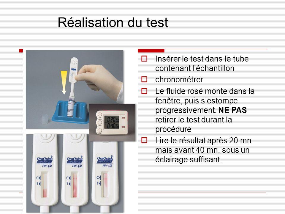 Réalisation du test Insérer le test dans le tube contenant l'échantillon. chronométrer.