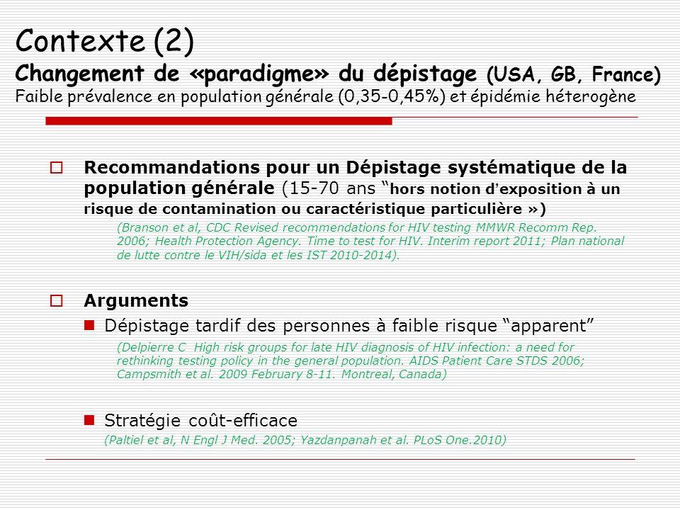 Contexte (2) Changement de «paradigme» du dépistage (USA, GB, France) Faible prévalence en population générale (0,35-0,45%) et épidémie héterogène