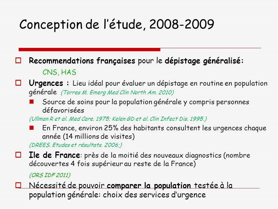 Conception de l'étude, 2008-2009