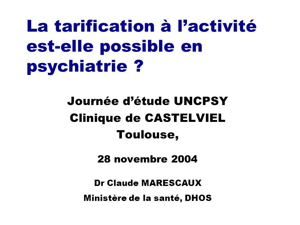La tarification à l'activité est-elle possible en psychiatrie