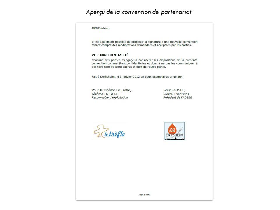 Aperçu de la convention de partenariat