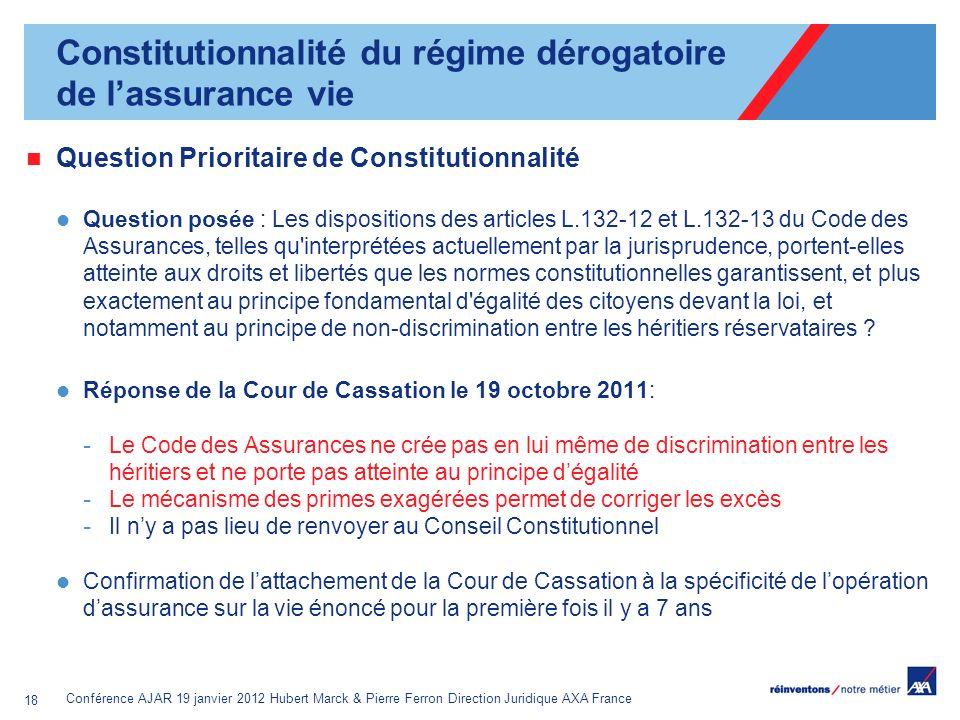 Constitutionnalité du régime dérogatoire de l'assurance vie