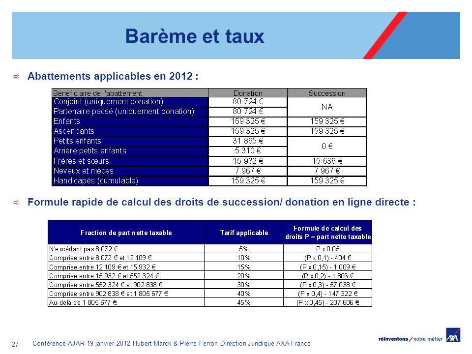 Barème et taux Abattements applicables en 2012 :