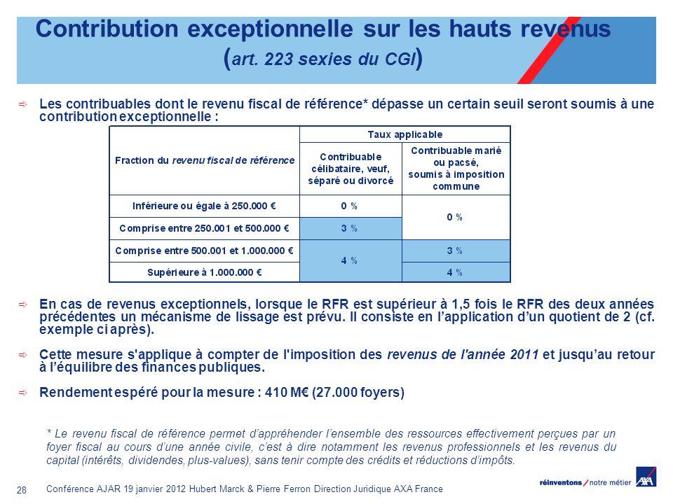 Contribution exceptionnelle sur les hauts revenus (art