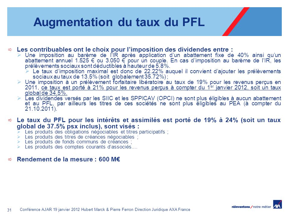 Augmentation du taux du PFL