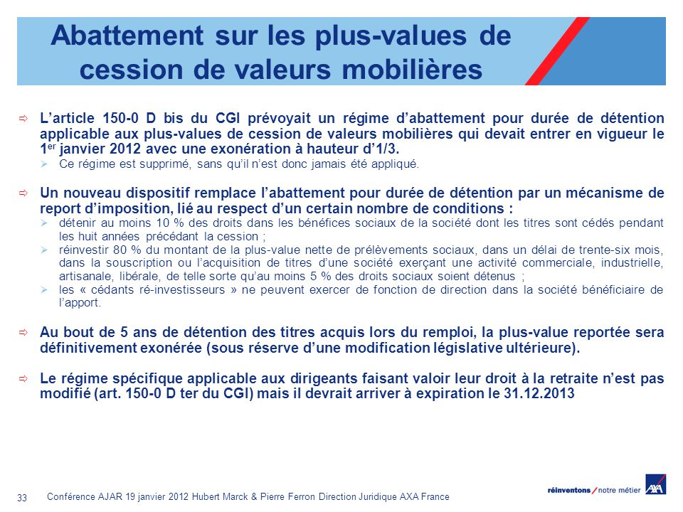 Abattement sur les plus-values de cession de valeurs mobilières