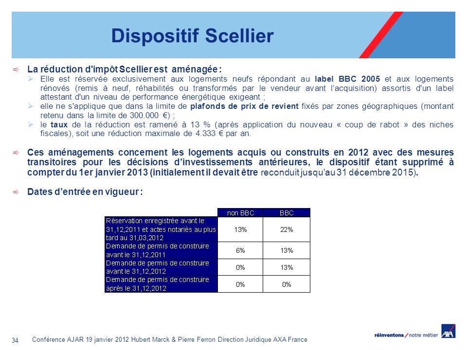 Dispositif Scellier La réduction d impôt Scellier est aménagée :