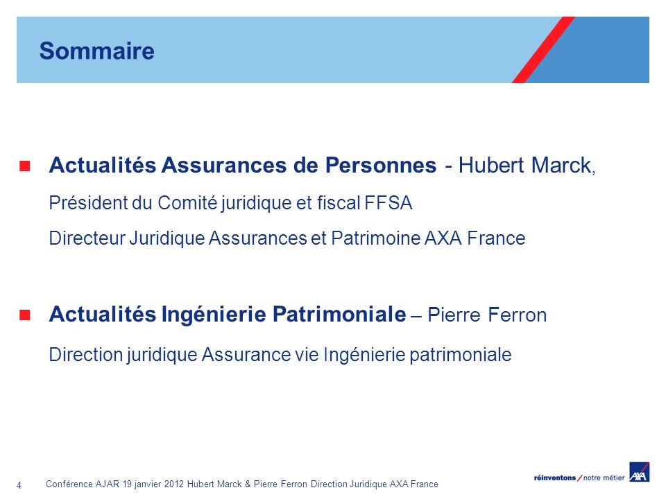 Sommaire Actualités Assurances de Personnes - Hubert Marck,