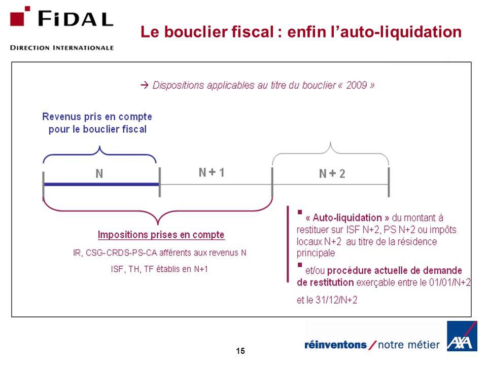 Le bouclier fiscal : enfin l'auto-liquidation