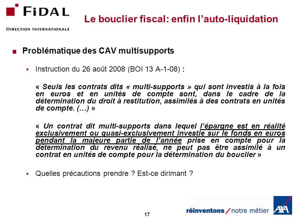 Le bouclier fiscal: enfin l'auto-liquidation