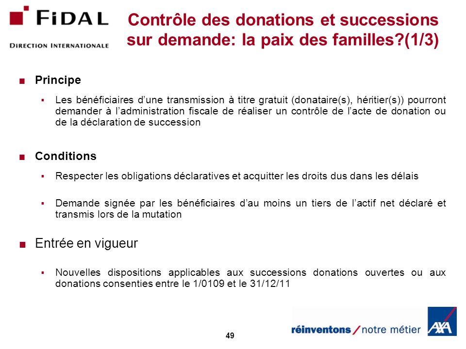 Contrôle des donations et successions sur demande: la paix des familles (1/3)