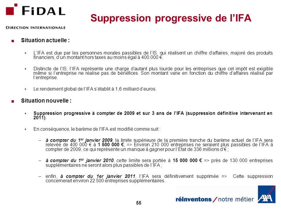Suppression progressive de l'IFA