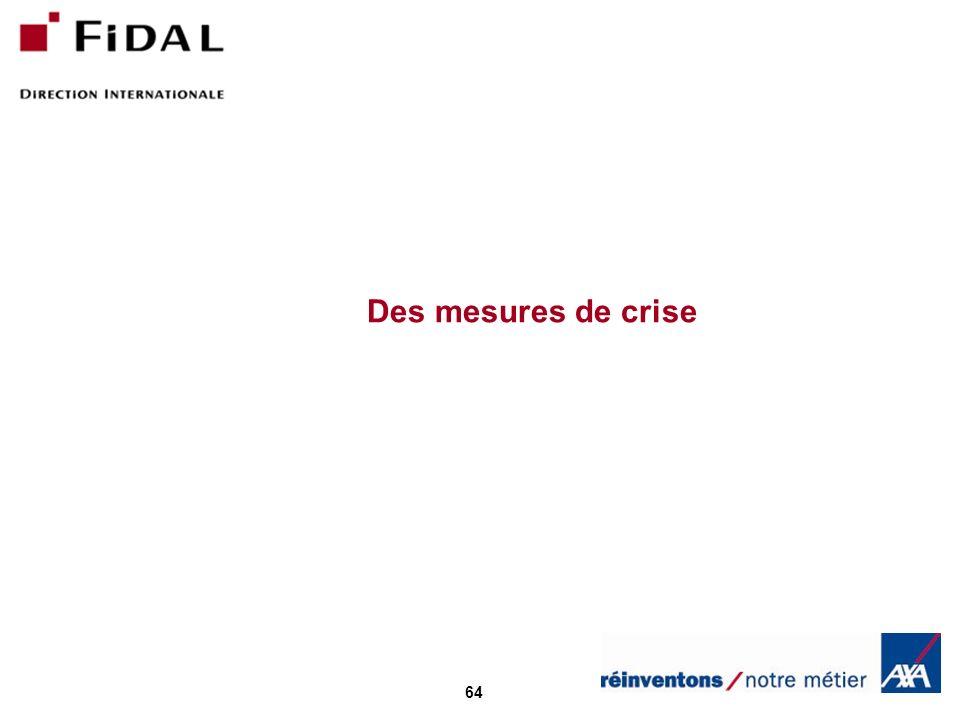Des mesures de crise