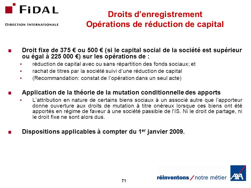 Droits d'enregistrement Opérations de réduction de capital