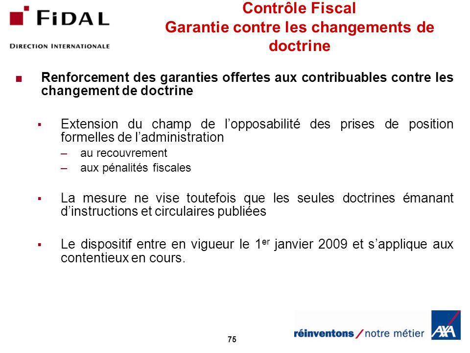 Contrôle Fiscal Garantie contre les changements de doctrine