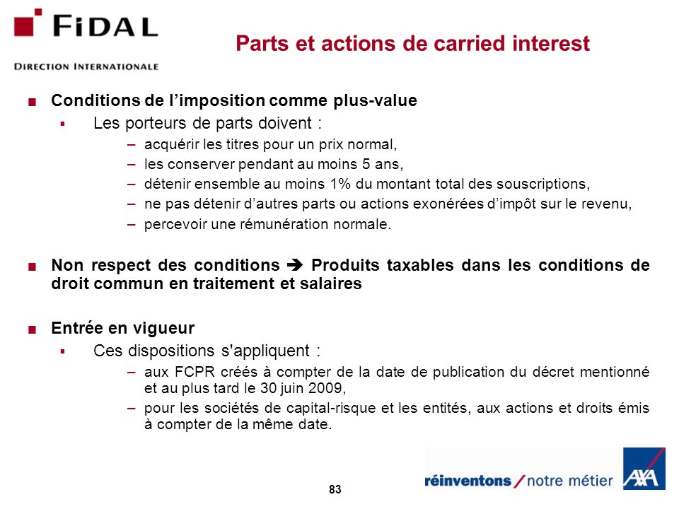 Parts et actions de carried interest