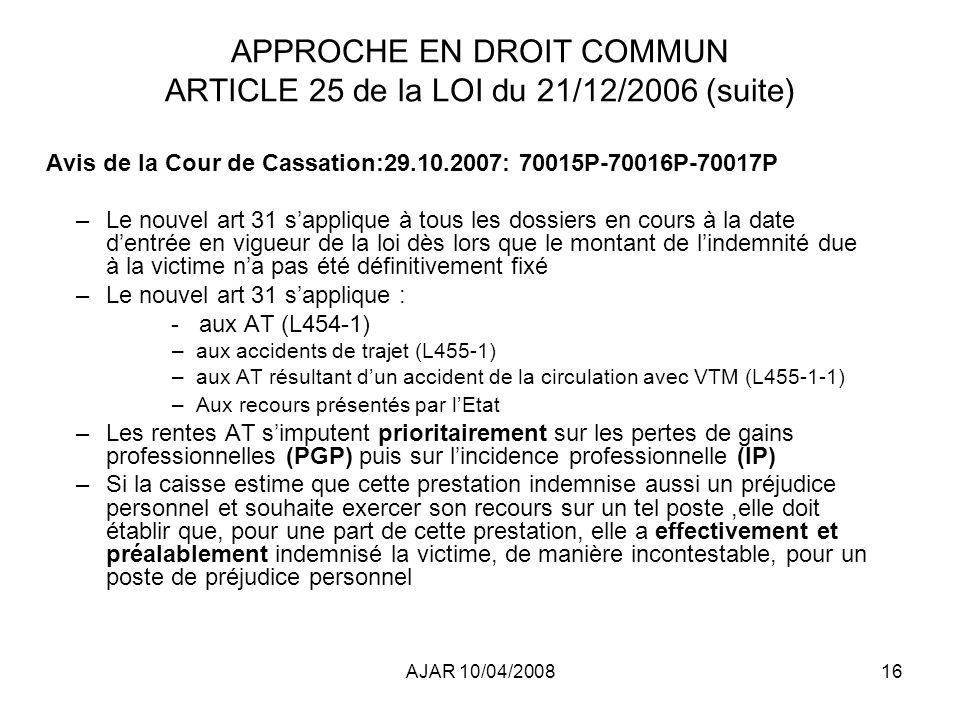 APPROCHE EN DROIT COMMUN ARTICLE 25 de la LOI du 21/12/2006 (suite)