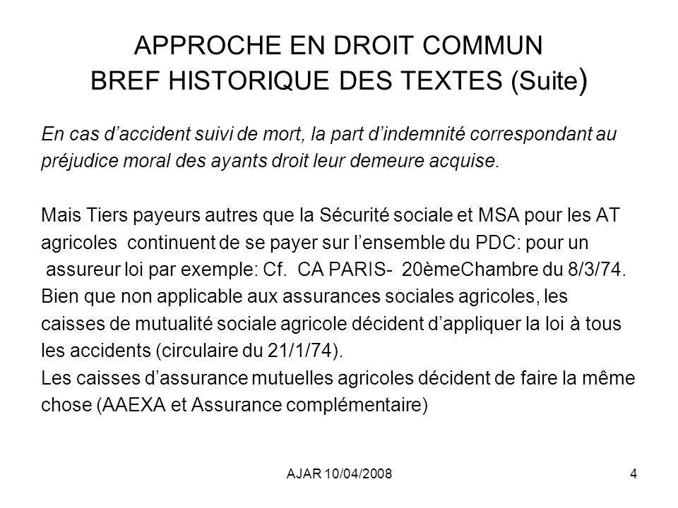 APPROCHE EN DROIT COMMUN BREF HISTORIQUE DES TEXTES (Suite)