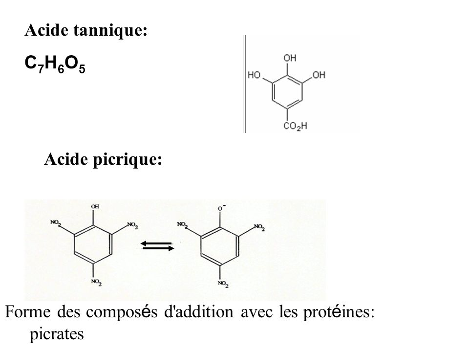 Acide tannique:C7H6O5.